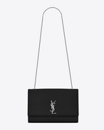 SAINT LAURENT MONOGRAM KATE D Grand satchel KATE en cuir texturé grain-de-poudre noir f