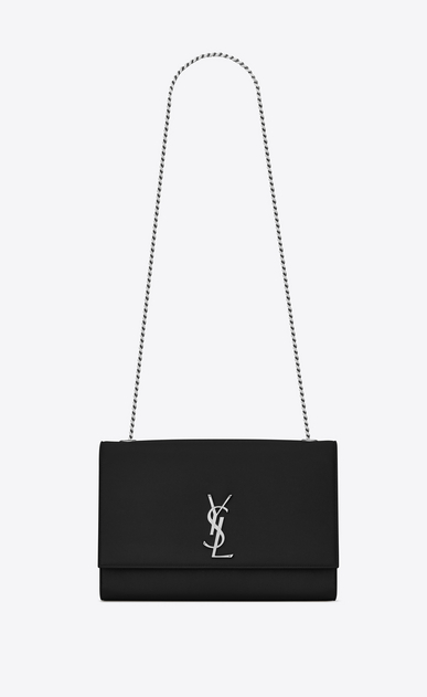 SAINT LAURENT MONOGRAM KATE Woman large kate chain bag in black textured leather a_V4