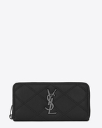 SAINT LAURENT Monogram Matelassé D COLLEGE Zip Around Wallet in Black Diamond Matelassé Leather f