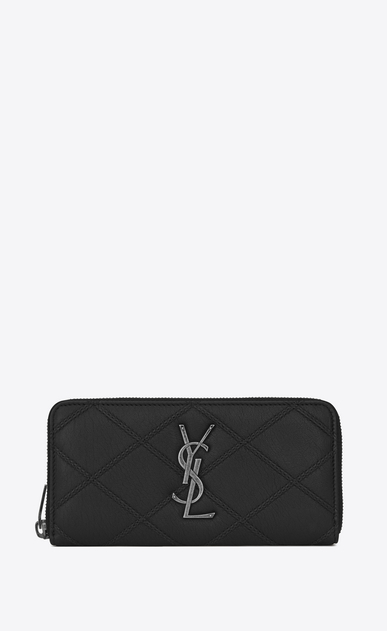 SAINT LAURENT Monogram Matelassé D COLLEGE Zip Around Wallet in Black Diamond Matelassé Leather a_V4