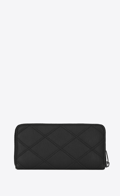 SAINT LAURENT Monogram Matelassé D COLLEGE Zip Around Wallet in Black Diamond Matelassé Leather b_V4
