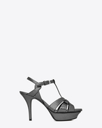 SAINT LAURENT Tribute D Classic TRIBUTE 75 Sandal in Gunmetal Cracked Metallic Leather f