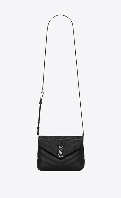 "SAINT LAURENT Mini bags Loulou Donna Bag Toy LOULOU a tracolla nera in vernice matelassé a ""Y"" a_V4"