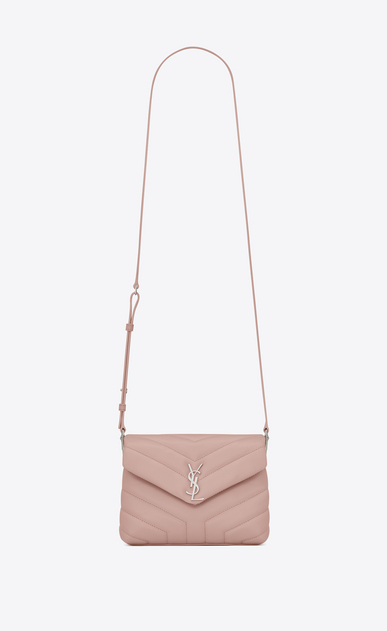 "SAINT LAURENT Monogramme Loulou D Toy LOULOU Strap Bag in Pale Blush ""Y"" Matelassé Leather a_V4"