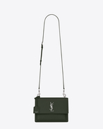 SAINT LAURENT Sunset D satchel medium sunset en cuir grainé vert kaki f