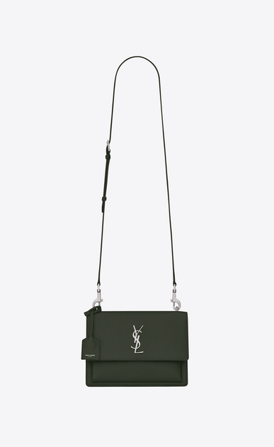 SAINT LAURENT Sunset D Medium SUNSET Satchel in Army Green Grained Leather a_V4