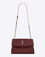 SAINT LAURENT West Hollywood D Sac WEST HOLLYWOOD medium en cuir texturé grain-de-poudre rouge foncé f
