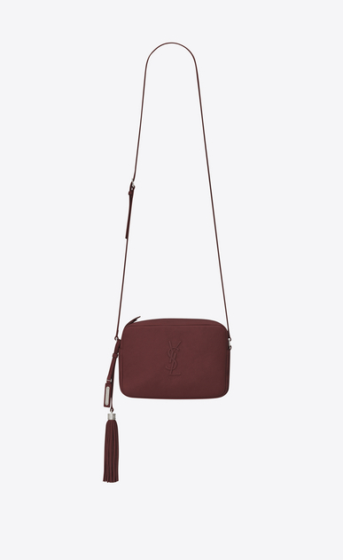 SAINT LAURENT Monogram Lou Woman LOU Camera Bag in Dark Red Leather a_V4