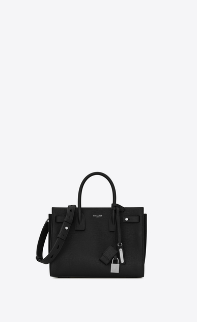 SAINT LAURENT Sac De Jour Supple D Baby SAC DE JOUR SOUPLE Bag in Black Grained Leather a_V4