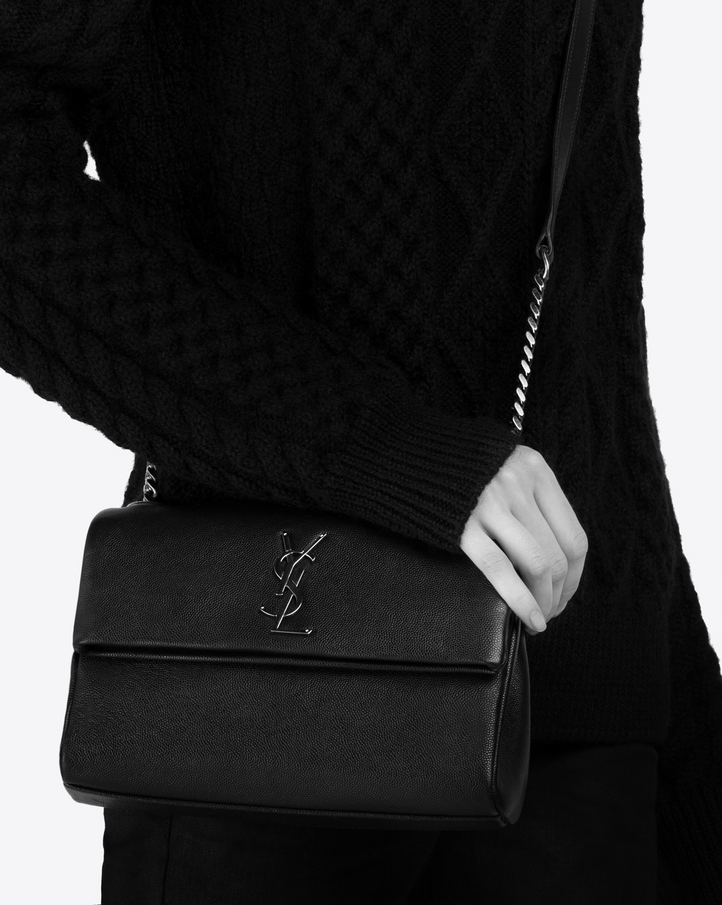 Zoom  small west hollywood bag in black textured leather , View with model 2 15474538db