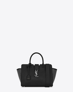 SAINT LAURENT MONOGRAMME TOTE D Baby DOWNTOWN Cabas YSL Studded Bag in Black Leather f