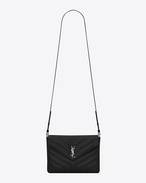 "SAINT LAURENT Monogramme Loulou D LOULOU Tablet Holder in Black ""Y"" Matelassé Leather f"