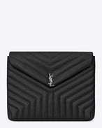 "SAINT LAURENT Monogram Matelassé D LOULOU Document Holder in Black ""Y"" Matelassé shiny Leather f"