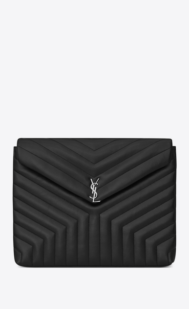 "SAINT LAURENT Loulou SLG Woman LOULOU Document Holder in Black ""Y"" Matelassé shiny Leather a_V4"