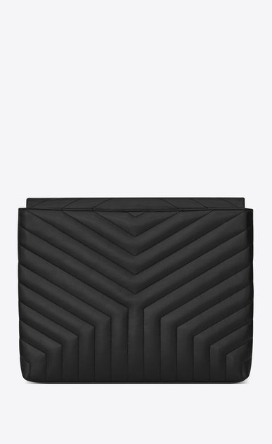 "SAINT LAURENT Loulou SLG Woman LOULOU Document Holder in Black ""Y"" Matelassé shiny Leather b_V4"