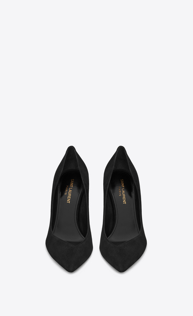 SAINT LAURENT Niki D NIKI 85 Pump Shoe in Black Suede b_V4