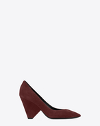 SAINT LAURENT Niki D NIKI 85 Pump Shoe in Burgundy Suede f