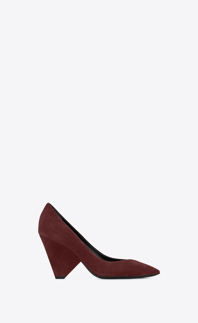 SAINT LAURENT Niki D NIKI 85 Pump Shoe in Burgundy Suede a_V4
