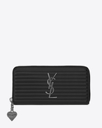 SAINT LAURENT Monogram D OPIUM Zip Around Wallet in Black Ribbed Leather f