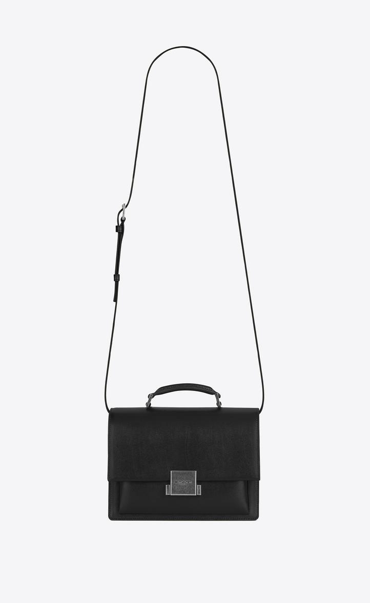 Medium Bellechasse Saint Lau Bag In Black Leather Front View