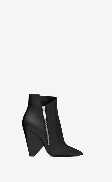 SAINT LAURENT Niki Woman NIKI 105 Asymmetrical Ankle Boot in Black Leather a_V4