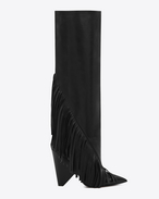 SAINT LAURENT Niki D NIKI 105 Fringed Knee-High Boot in Black Leather f