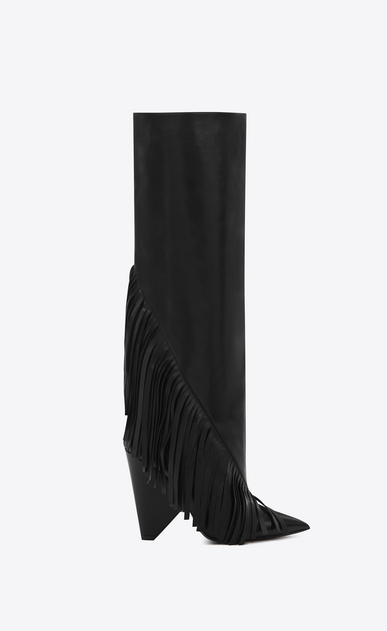 SAINT LAURENT Niki D NIKI 105 Fringed Knee-High Boot in Black Leather a_V4