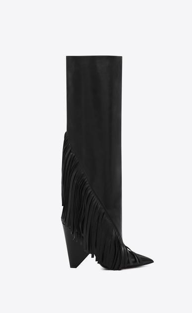 SAINT LAURENT Niki D NIKI 105 Fringed Knee-High Boot in Black Leather v4