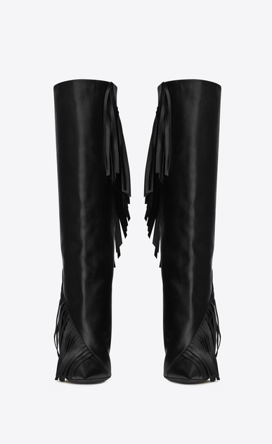 SAINT LAURENT Niki D NIKI 105 Fringed Knee-High Boot in Black Leather b_V4