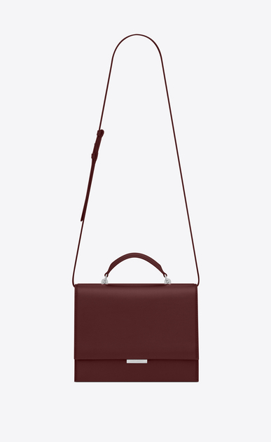 SAINT LAURENT Babylone Woman Medium BABYLONE Top Handle Bag in Dark Red Leather a_V4