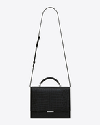 SAINT LAURENT Babylone D Bag Medium BABYLONE con manico nera in coccodrillo stampato f