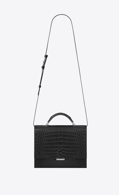 SAINT LAURENT Babylone Woman Medium BABYLONE Top Handle Bag in Black Crocodile Embossed Leather a_V4