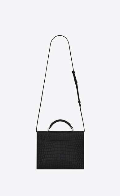 SAINT LAURENT Babylone Woman Medium BABYLONE Top Handle Bag in Black Crocodile Embossed Leather b_V4