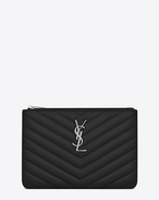 SAINT LAURENT Monogram Matelassé D monogram Pouch in Black Matelassé Leather f
