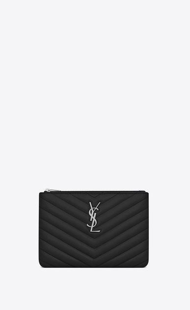 SAINT LAURENT Monogram Matelassé D monogram Pouch in Black Matelassé Leather a_V4