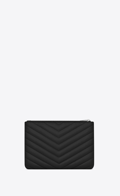SAINT LAURENT Monogram Matelassé D monogram Pouch in Black Matelassé Leather b_V4