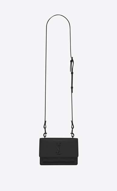 SAINT LAURENT Mini bags sunset D SUNSET Strap Wallet in Black Grained Leather a_V4