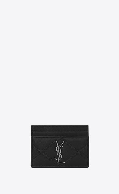 SAINT LAURENT Monogram Matelassé D COLLEGE Credit Card Case in Black Diamond Matelassé Leather a_V4