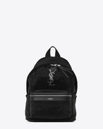 SAINT LAURENT City Backpack D Mini sac à dos City en sequins et cuir noirs et argent f