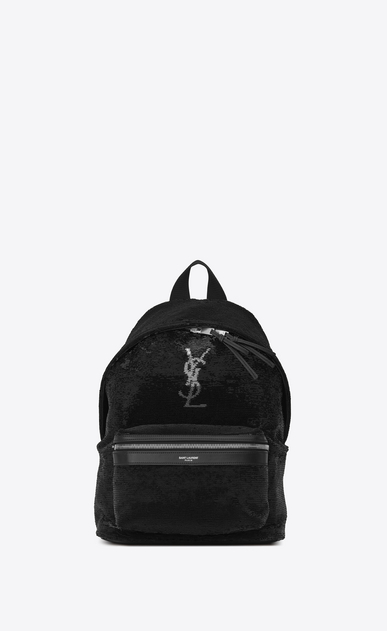 SAINT LAURENT City Backpack Woman Mini City Backpack in Black and Silver Sequins and Leather a_V4