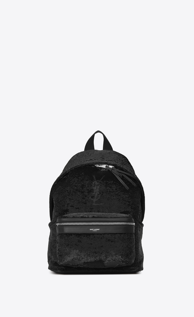 SAINT LAURENT City Backpack Woman Mini City Backpack in Black and Silver Sequins and Leather b_V4