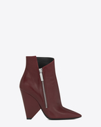 SAINT LAURENT Niki D NIKI 105 Asymmetrical Ankle Boot in Light Burgundy Leather f