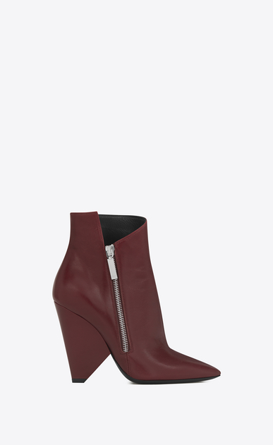 SAINT LAURENT Niki Woman NIKI 105 Asymmetrical Ankle Boot in Light Burgundy Leather a_V4