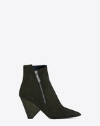 SAINT LAURENT Niki D NIKI 85 Asymmetrical Ankle Boot in Army Green Suede f