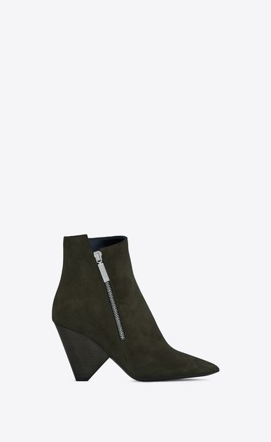 SAINT LAURENT Niki Woman NIKI 85 Asymmetrical Ankle Boot in Army Green Suede a_V4