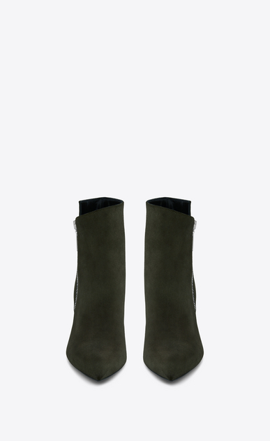 SAINT LAURENT Niki D NIKI 85 Asymmetrical Ankle Boot in Army Green Suede b_V4