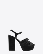 SAINT LAURENT Farrah D FARRAH 80 Bow Sandal in Black Velvet f