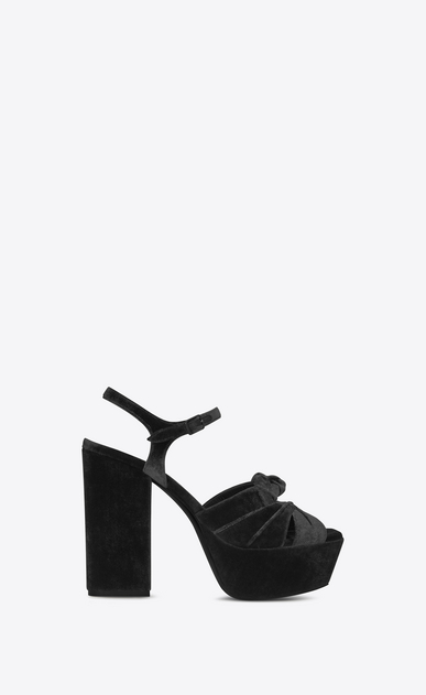 SAINT LAURENT Farrah D FARRAH 80 Bow Sandal in Black Velvet a_V4