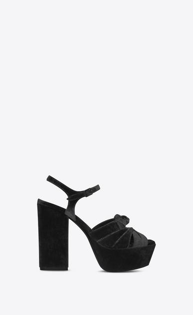 SAINT LAURENT Farrah D FARRAH 80 Bow Sandal in Black Velvet v4