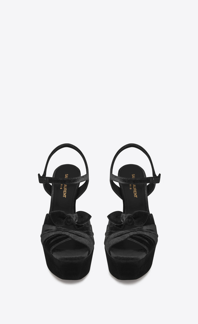 SAINT LAURENT Farrah D FARRAH 80 Bow Sandal in Black Velvet b_V4